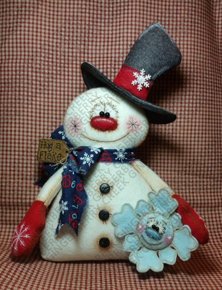 Mi patrón de amigo de Flakey #294 – patrón de muñeca primitiva – Navidad – invierno – muñeco de nieve – copo de nieve – arte de fibra – caprichoso – estantería sitter