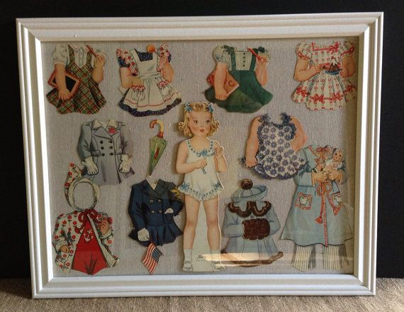 1940s Paper Doll Cut Outs Framed,