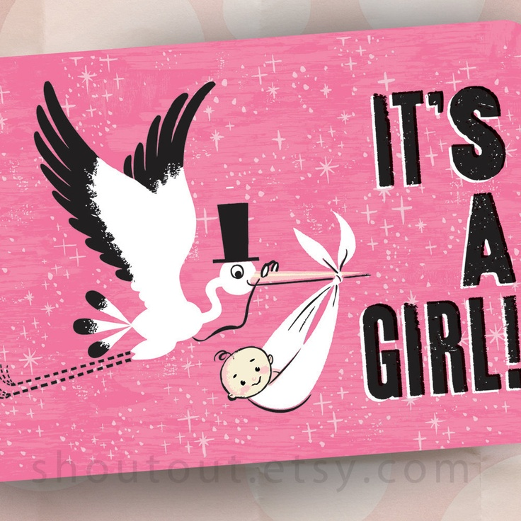 Birth Announcements - Stork Visit - Baby Girl - Pink - Set of 100