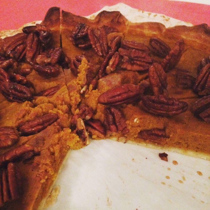Recept voor pompoentaart met pecannoten. Koop de Pumpkin Spice kruiden online bij www.theflavorshop.be