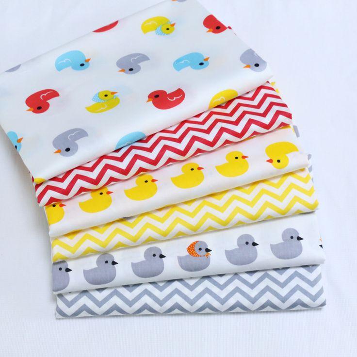 6 stks/partij Print Twill Katoen Voor Naaien Pop Baby Beddengoed Kleding Jurk Rok Patchwork eend & wave Tissue Materiaal 40x50 cm(China (Mainland))