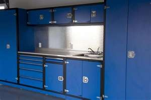 Garage organization: Blue Win, Favorite Colors, Garage Cabinets, Black Border Hot, Garage Organizations, Garage Shops, Garage Ideas, Blue Colors, Blue Garage