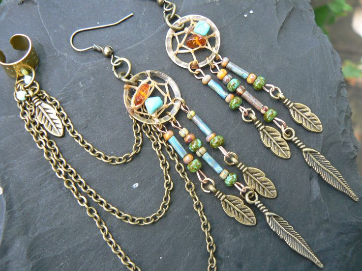 turquoise and amber dreamcatcher chained ear cuff by gildedingypsy