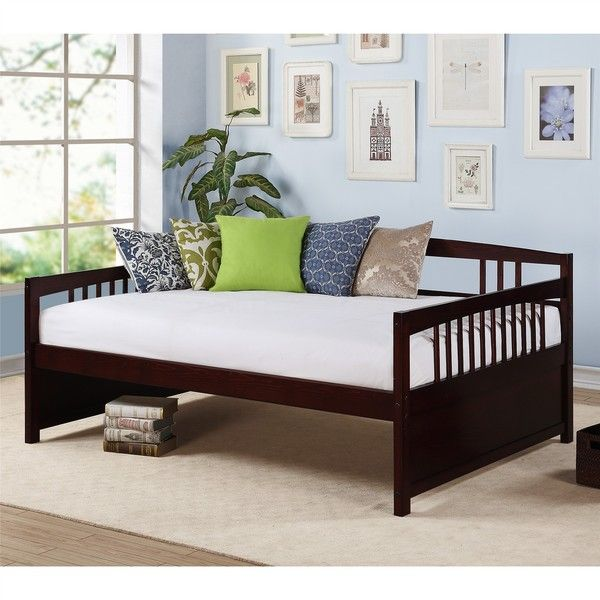 The Morgan Full Size Daybed is a versatile piece of furniture that can be used for both seating and sleeping needs. The clean lines and rich espresso finish allow the daybed to blend into existing liv
