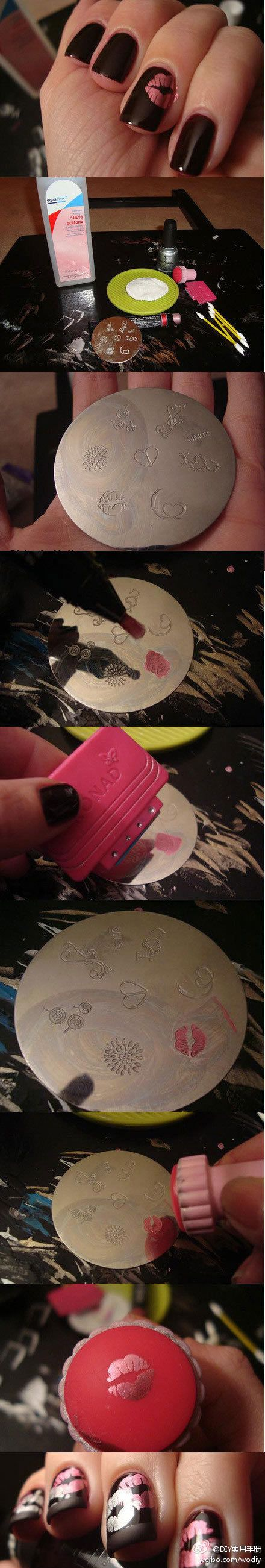 Nail DIY: black nails with pink stencil detail. #manicure #design