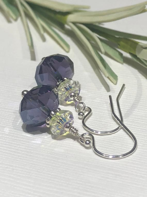 46cc83d0b Purple glass crystal rondelle stacked with sterling silver daisy spacer, a clear  AB swarovski saucer