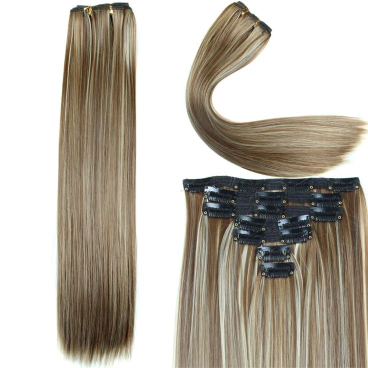 26 best clip in hair extensions images on pinterest blondes 23 inch 160g 16 clips in hair extension long straight synthetic hair extension heat resistant hairpieces pmusecretfo Image collections