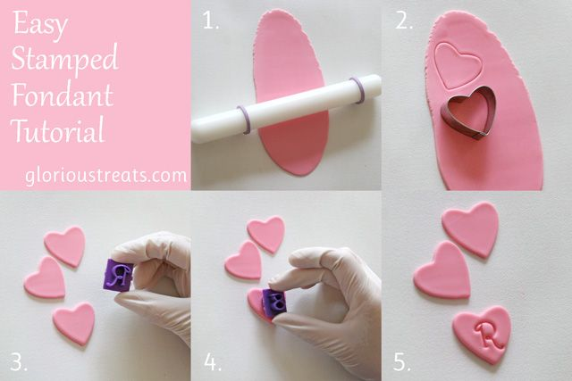 How to make easy stamped fondant hearts for decorating cupcakes, cookies, etc.