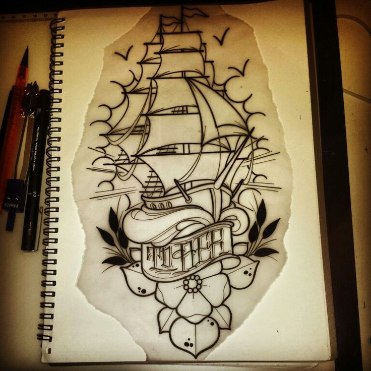 neotraditional ship tattoo