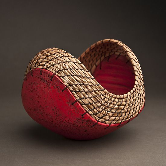 Hannie Goldgewicht: Ceramic Vessel - Artful Home  Interesting idea...ceramic vessel woven with pine needle basketry.
