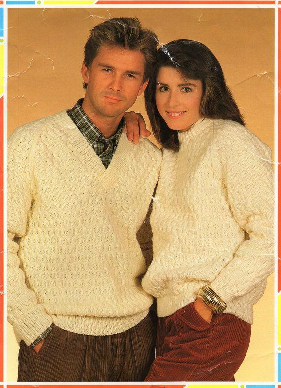 "womens mens aran sweater knitting pattern pdf ladies aran jumper crew or v neck 32-42"" aran worsted 10ply aran knitting pattern pdf download"