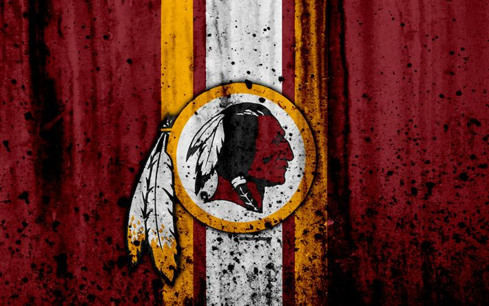 Download wallpapers 4k, Washington Redskins, grunge, NFL, american football, NFC, logo, USA, art, stone texture, East Division