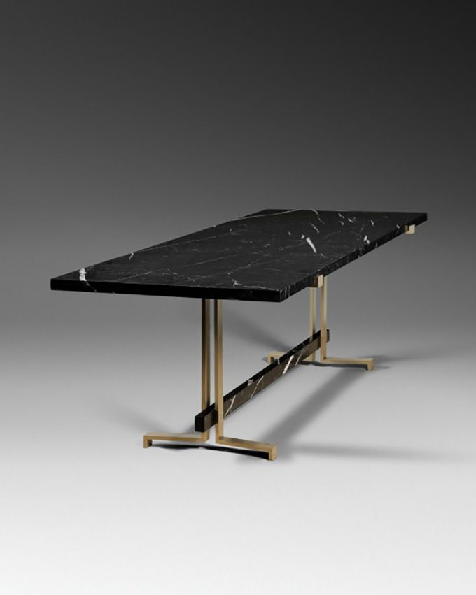 Eric Gizard Table Milos In Marquina Marble LIMITED EDITION OF 8 Black  Marquina Marble, Champagne Great Pictures