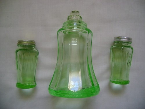 Green Depression Glass Sugar Shaker & Hazel Atlas Icicle Salt & Pepper Shakers
