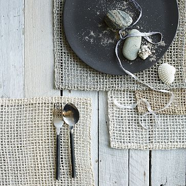 "Fishnet Woven Placemat Set #westelm - big baskets are so expensive! Let's make our large ""basket"" pendants by attaching these placemats together! cg"