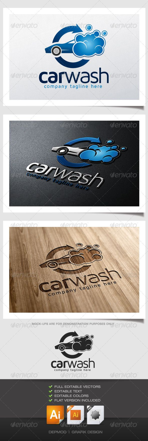 Car Wash Logo #GraphicRiver Logo of a car with bubbles on it (car wash). Can be used for many kind of project. Full vectors, this logo can be easily resize and colors can be changed to fit your colors project. Flat version for print also included. The font used is in a download file in the package. Font : .fontsquirrel /fonts/maven-pro Files provided : .ai (CC and CS), .eps, .jpg, .png (transparent) Created: 30June13 GraphicsFilesIncluded: TransparentPNG #JPGImage #VectorEPS #AIIllustrator…