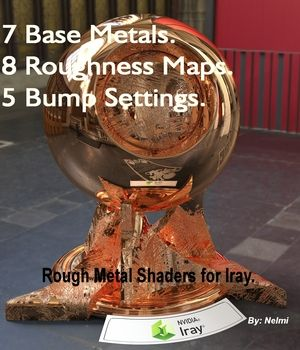 Rough Metal Iray shaders is a set of 7 metal and 8 Roughness shaders with roughness options to help give your metal objects and props realistic and unique textures. They have been designed exclusively for Daz Studio Iray.