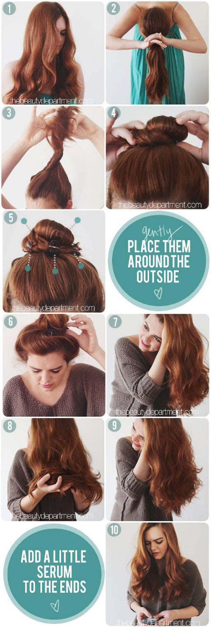Bun Trick for Natural Curly Hair - 16 Perfect Beach Wavy Hair Tutorials | GleamItUp