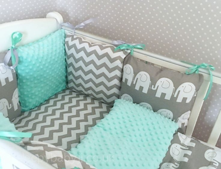 Happy Elephants with funky grey chevron and mint Minky