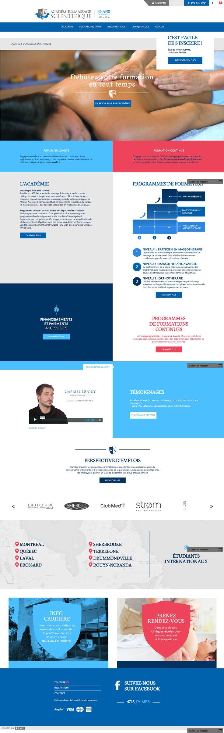 https://academiedemassage.com Conception du site Web de l'Académie de massage scientifique. Design, Website