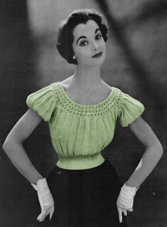 1950s Pleated Short Sleeve Blouse Great for Skirts par eStitches, $3.75