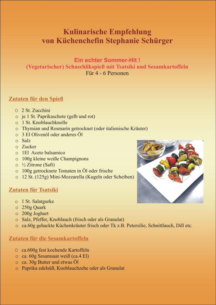 Kulinarsche Empfehlung der Küchenchefin im Wellness-Hotel Schürger, Thurmansbang: Vegetarischer Schaschlik-Spieß mit Tsatsiki und Sesam-Kartoffeln