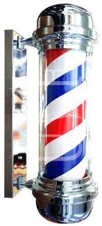 Classic durable indoor/outdoor barber pole with one year warranty.