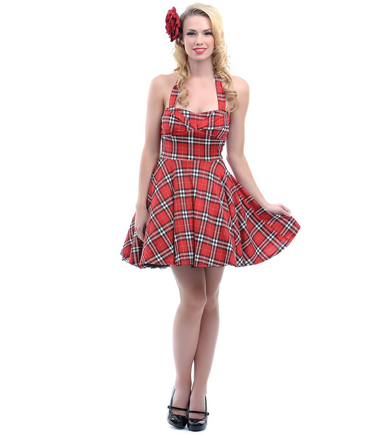 Red Plaid Fit N Flare Short Halter Dress #uniquevintage