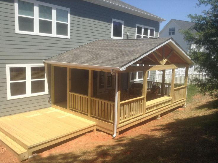 Designed 16' x 24' covered deck with10' x 12' sun deck .  Includes vaulted ceiling, ceiling fans, flat screen TV and natural gas heating feature