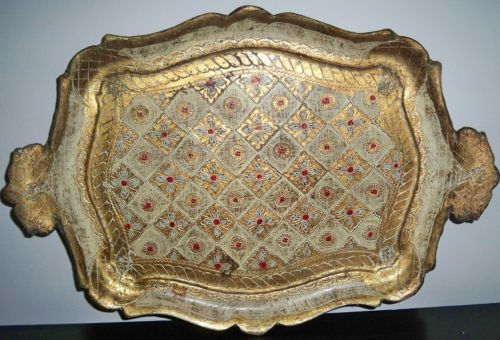 Vintage Florentine Italian Gold and Red Painted Wood Tray | eBay