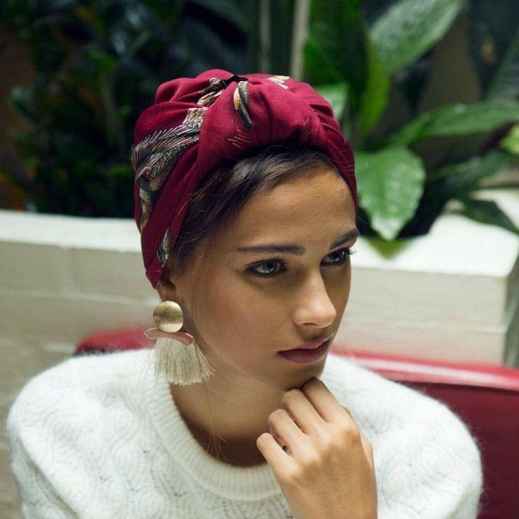 Hair wrap and tassel earrings