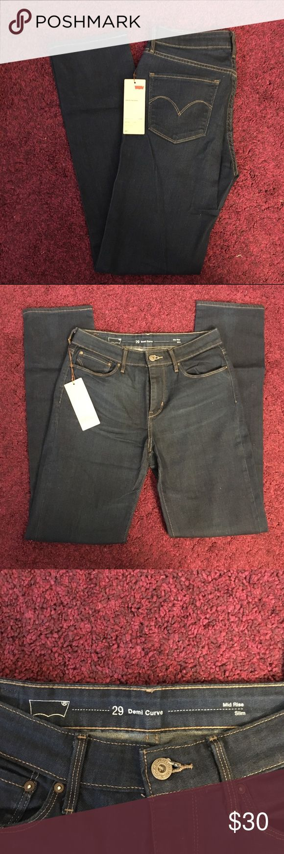 NWT Levi's Demi Curve Slim/Skinny NWT, never worn! Size 29 x 32. Demi curve is a great fit for a girl with a more accentuated hourglass figure. Medium-Dark blue wash Levi's Jeans Skinny