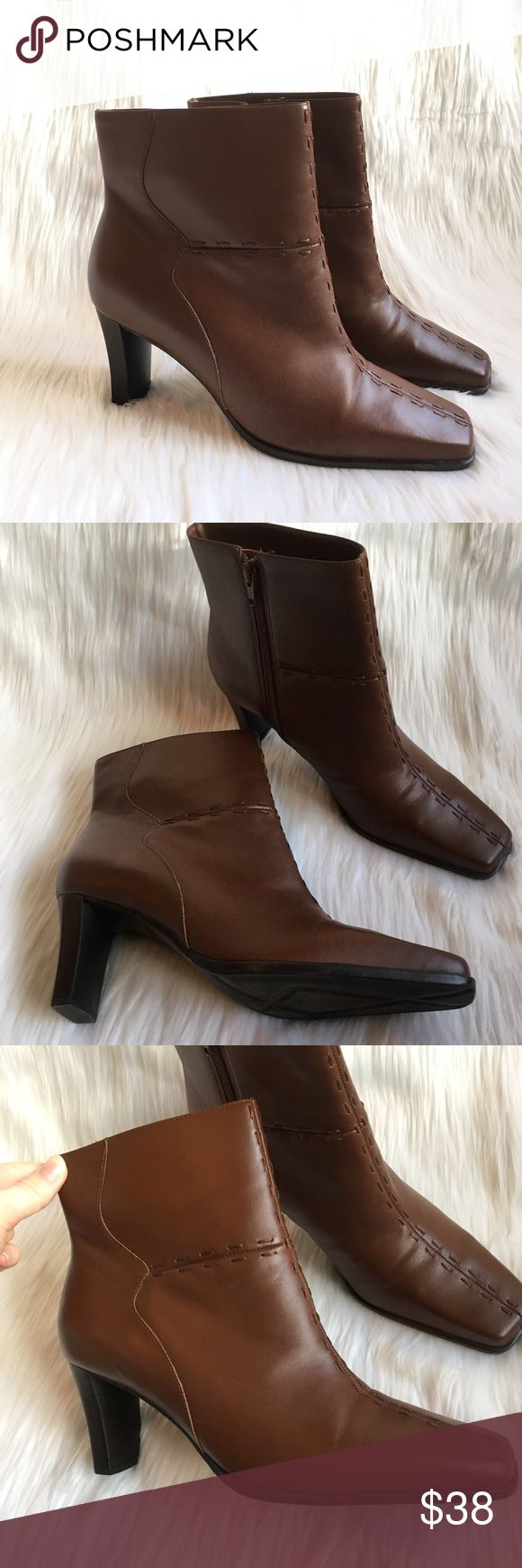"""NEW Markon Whitney Brown Leather Ankle 3"""" Booties NEW brown ankle boots. chocolate brown shade. fabulous stitching. flattering square toe. style name is the """"whitney"""". 3"""" slim block heel. these are brand new. from the brand markon. high quality leather upper. a fabulous addition to your boot collection! made in brazil. women's size 9.5. 10% off bundles of 2 items and 15% off bundles of 3+ items. Markon Shoes Heeled Boots"""