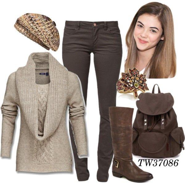 brown jeans grey top