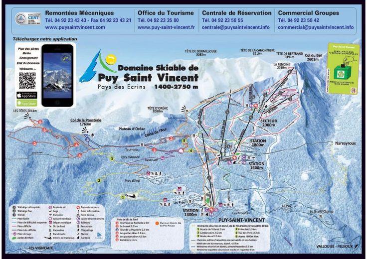 Plan des pistes de la station de ski de Puy Saint Vincent. http://www.puy-saint-vincent.fr