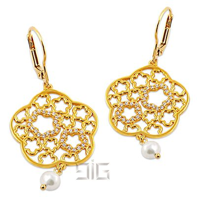 Earrings gold plated flowers