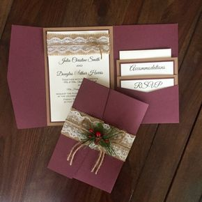 Wow!!! What a breath taking invitation!!! Rustic burgundy pocket folder with three layers kraft, burgundy and ivory linen paper. The wording is printed on a black color and can be customized to your information. On the top a matching burlap with delicate white lace and a yute bow. On the pocket two matching inserts already included on the price. To close this gorgeous invitation, a burlap belt with a very delicate lace and a Christmas style bouquet. The suite comes individually wrapped on an ...
