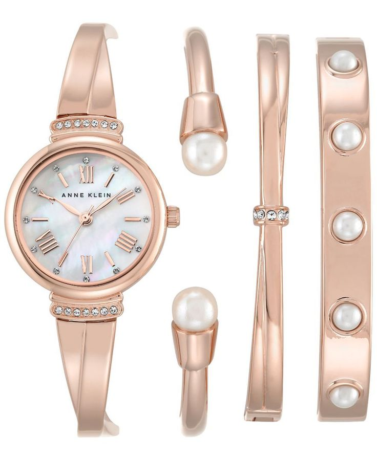Anne Klein Women's Rose Gold-Tone Bracelet Watch and Bangle Set 32mm Ak-2372RGST