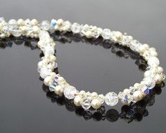 Pearl & Crystal Cluster Beaded Bridal Necklace, Sicily. €89