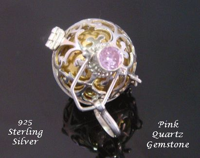 Mothers Day Gift 650 Chiming Harmony Ball 925 Silver Pink Quartz from www.mothersdayaustralia.net.au and https://www.etsy.com/shop/HarmonyBalls #harmonyballs #giftsforwomen #mothersday #mothersdaygiftideas #jewelry #jewellery