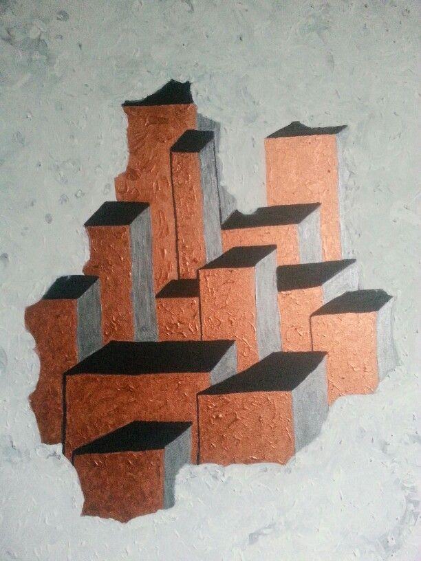 Wolkenkrabbers in acryl