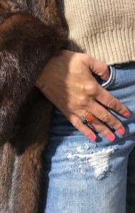 Gel Nails in a coral colour and 3 handmade jewelry rings i love from Johan Veje, Denmark.