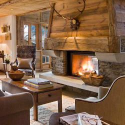 Luxurious Lodge Living Room: Luxurious Ski Chalet, Rustic Mountain Retreat or Urban Lodge #cabin #RugsNowDesign #decor
