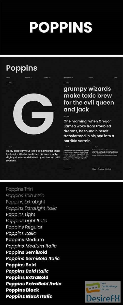 Poppins Font Family | Fonts | Font family, Fonts, Serif typeface