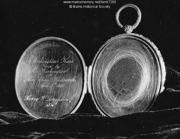Locket of George Washington's hair. This lock of George Washington's hair was given by Martha Washington to Miss Eliza Wadsworth on April 5, 1800. Henry Wadsworth Longfellow had the hair encased in this gold locket with an inscription about its provenance. Item # 7280 on Maine Memory NetworkHistory, George Washington, Eliza Wadsworth, Gold Lockets, Washington Hair, Hair Encasement, Martha Washington, Maine Historical, Henry Wadsworth Longfellow