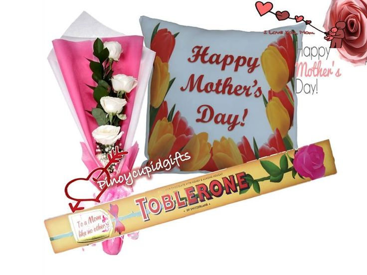 Mother's Day 06: 4 White Roses in a bouquet arrangement.  1 Pcs Toblerone Swiss Milk Chocolate 200g. White Happy Mothers Day Pillow. http://www.pinoycupidgifts.com/shop/mothers-day-06/