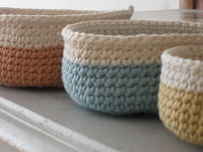 @ see liz at home: Crochet baskets from free pattern here: http://www.designsponge.com/2009/07/mini-crochet-baskets.html
