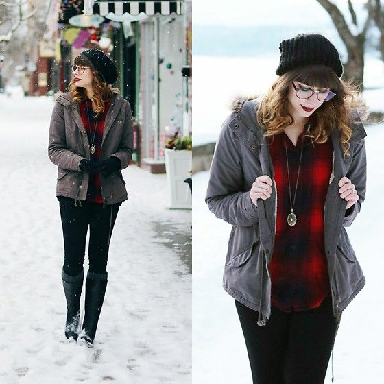 Get this look: http://lb.nu/look/8547947  More looks by Mackenzie S: http://lb.nu/kenzywho  Items in this look:  Madewell Ex Boyfriend Shirt, H&M Locket Necklace, Levi's® Levi's Beanie, H&M Parka, Merona Target Rain Boots, Old Navy High Waisted Leggings, Chillax Glasses From Eyebuydirect   #casual #grunge #madewell #winterfashion #winterstyle #levis #plaid #flannel #boyfriendshirt