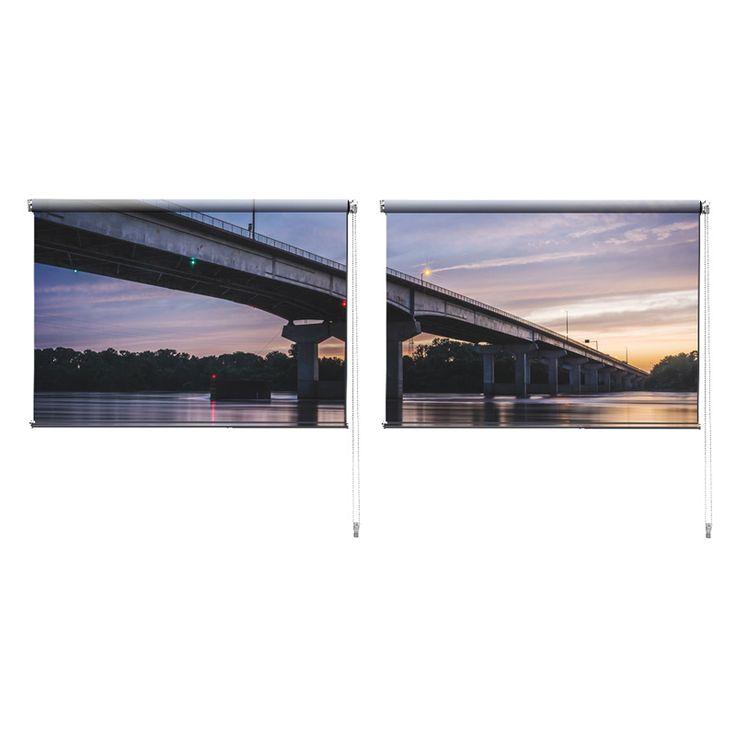 Duo rolgordijn Under the bridge | De duo rolgordijnen van YouPri zijn iets heel bijzonders! Maak keuze uit een verduisterend of een lichtdoorlatend rolgordijn. Inclusief ophangmechanisme voor wand of plafond! #rolgordijn #gordijn #lichtdoorlatend #verduisterend #goedkoop #voordelig #polyester #duo #twee #brug #paars #rivier #water