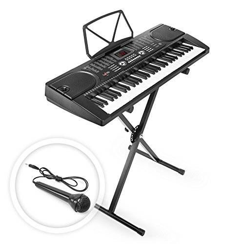 awesome Hamzer 61 Key Electronic Piano Electric Organ Music Keyboard with Stand - Black
